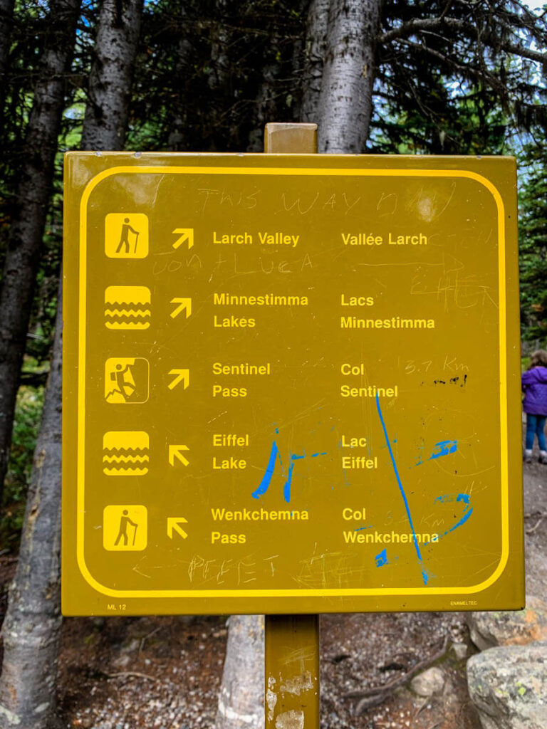Trail sign to Larch Valley/Sentinel Pass and Eiffel Lake Banff