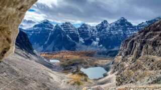 View of Ten Peaks and Minnestimma Lakes from Sentinel Pass Trail in Banff