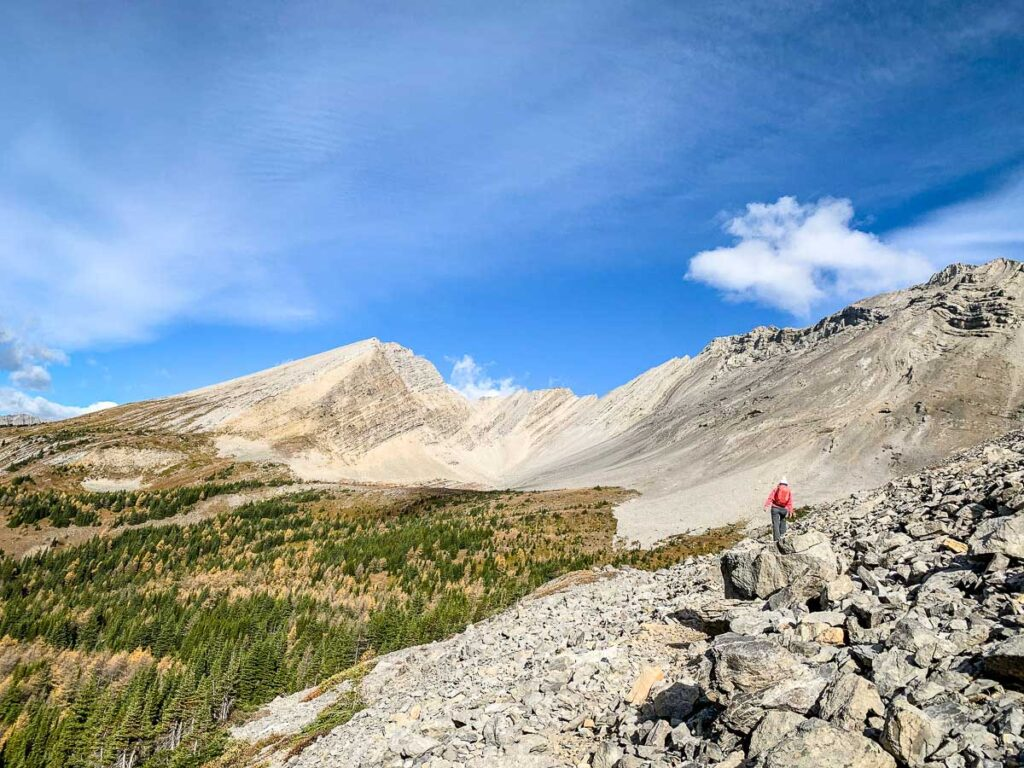 We recommend wearing a good pair of hiking boots while on the Arethusa Cirque trail near Highwood Pass