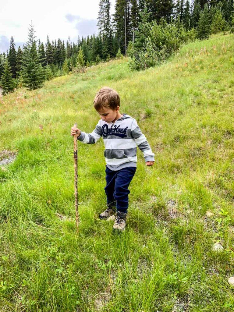 boy hiking in Banff