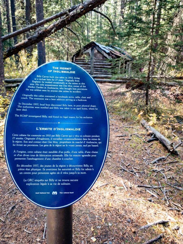 A Parks Canada plaque near Billy Carver's hermit cabin at Johnson Lake