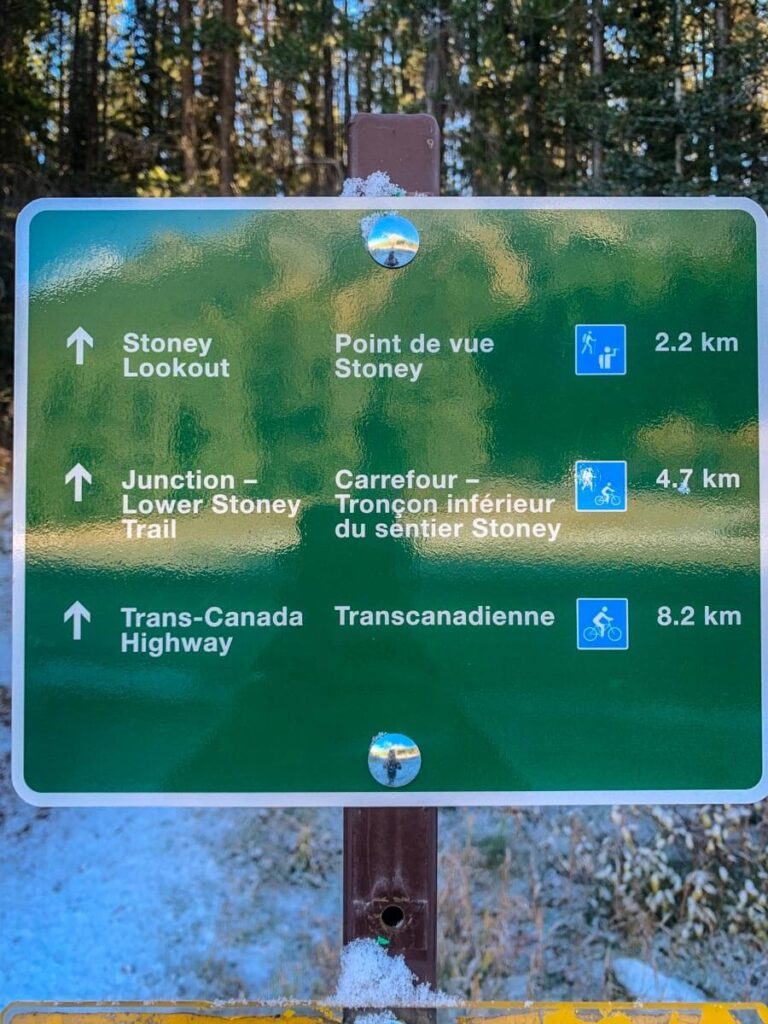 Trail sign for Stoney Lookout - Mt Norquay hiking in Banff