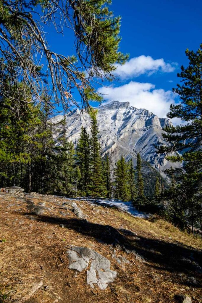 view of Cascade mountain from Stoney Lookout hike in Banff