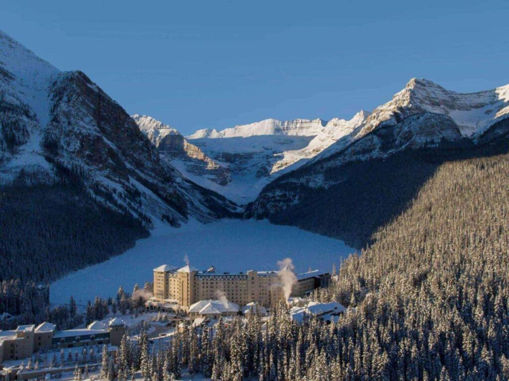 The Fairmont Chateau is the only hotel on Lake Louise
